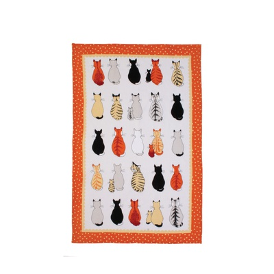 Cats in Waiting Cotton Tea Towel by Ulster Weavers